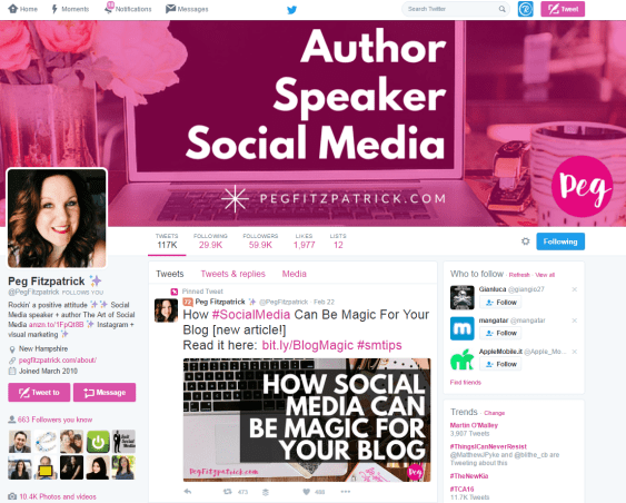Peg Fitzpatrick Personal Branding Example Twitter Account
