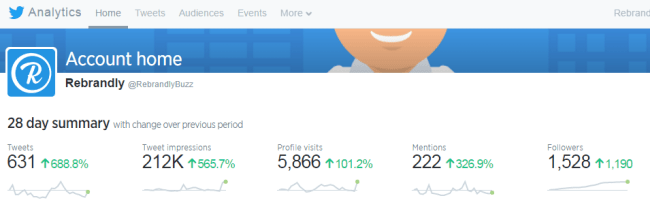 28 Day Summary Rebrandly Twitter