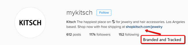 MyKitsch usesa  abranded link their isntagram bio to track clicks and website traffic