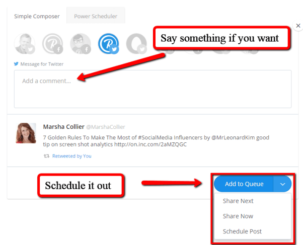 Buffer Retweet for Curated Content