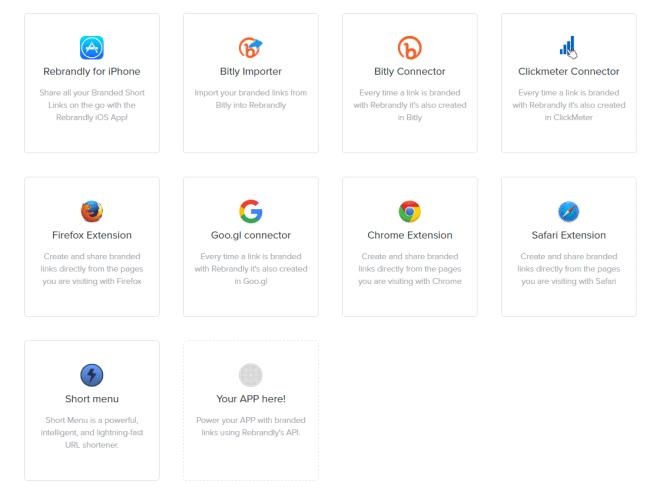 Rebrandly Apps Dashboard
