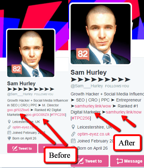 Sam Hurley added branded URLs to his Twitter Bio