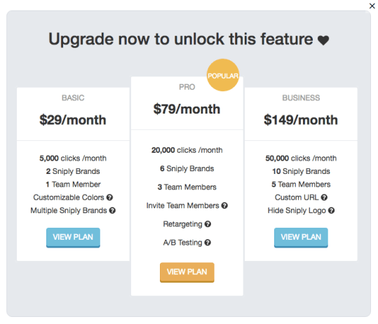 Sniply pricing page