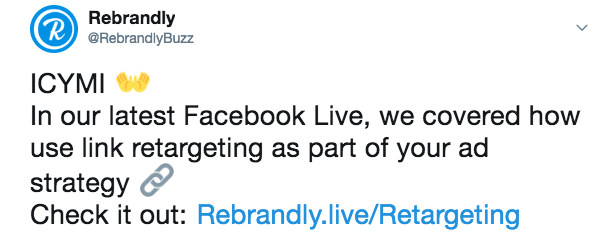 facebook live tips example of branded link