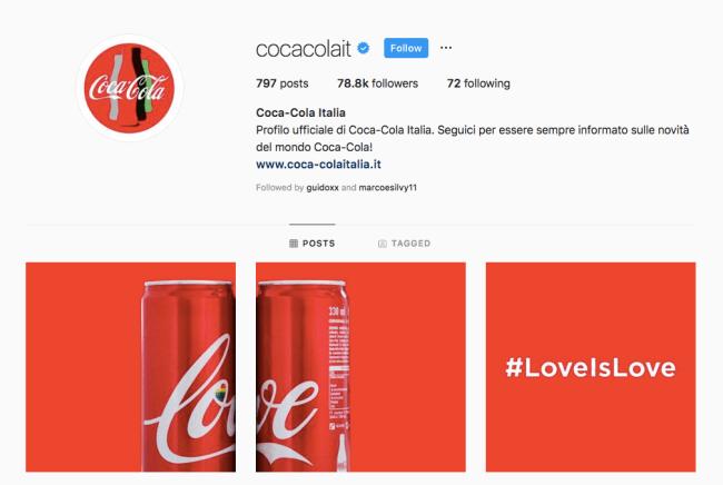 brand awareness example from coke italia on instagram