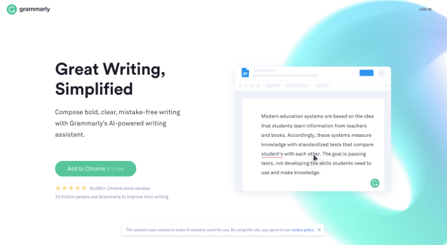 Grammarly homepage