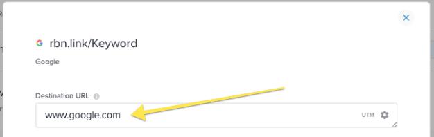 Destination URL - Rebrandly - shorten long URL