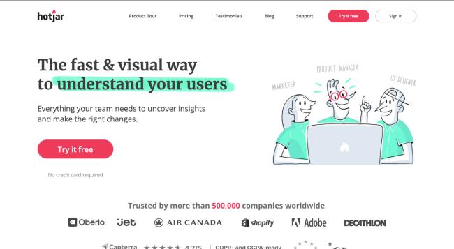 Hotjar - best content marketing tools
