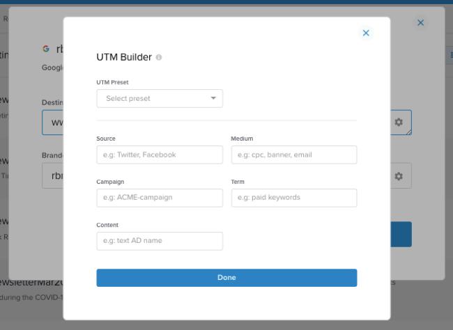UTM builder - shorten long URL