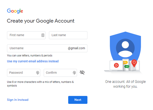 Create a google account - how to start a youtube channel