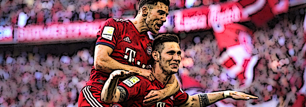 Niklas Süle celebrates his winning goal with Leon Goretzka