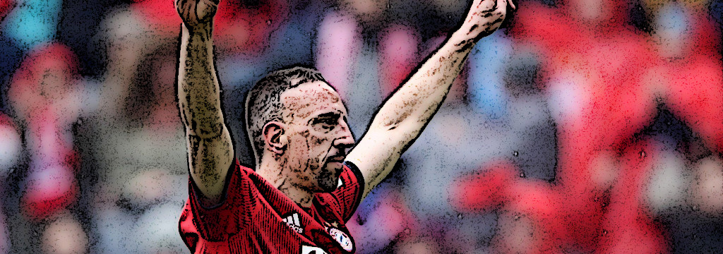 Franck Ribéry celebrates Bayern's third goal against Hannover 96