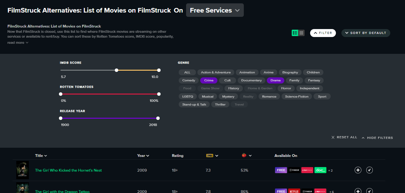 Reelgood - Filter by Genres, RT Scores, IMDB Ratings