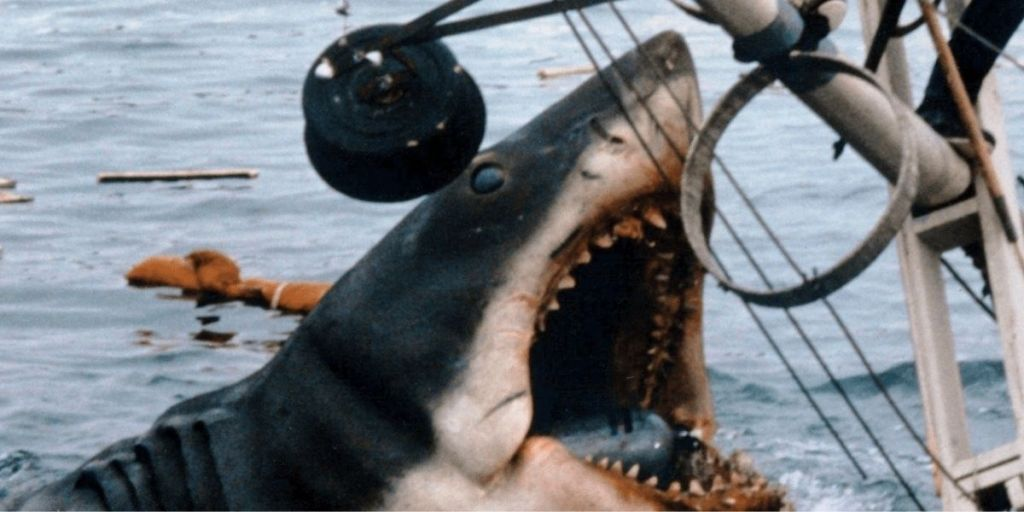 The great white shark from Jaws attacking a boat