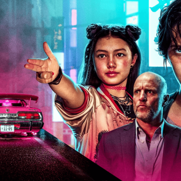 Promotional art for Netflix's upcoming action thriller Kate. Features a neon city scape.
