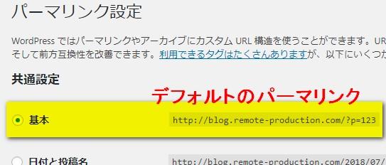 デフォルトのパーマリンク - WordPress