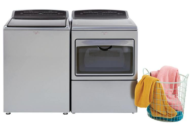 Chrome Whirlpool Washer and Dryer Set with Laundry Hamper
