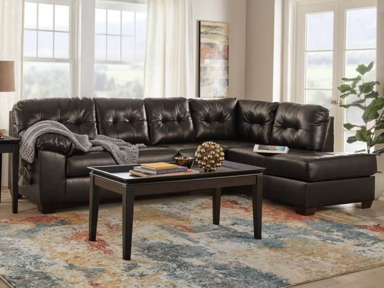 Brown Leather L-Shaped Sectional Couch in Large Living Room