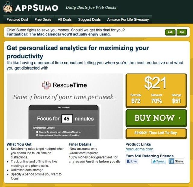 AppSumo.com Promotion for RescueTime.com