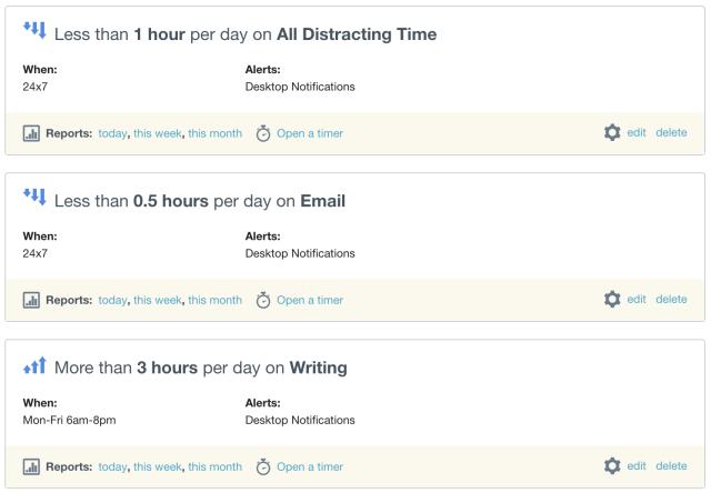 time audit - goals