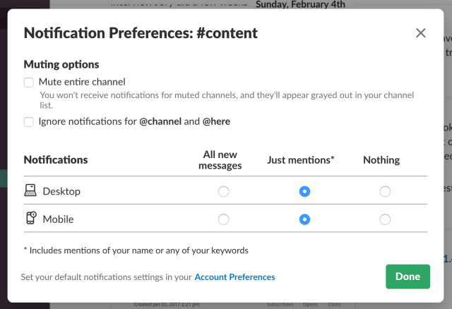Channel notification settings in Slack