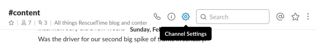 Channel settings in Slack