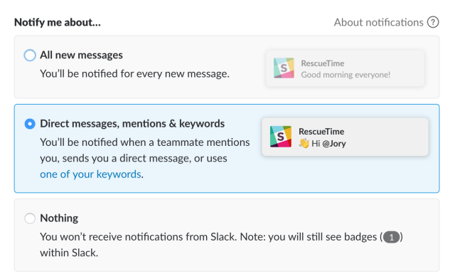 Change notifications in Slack