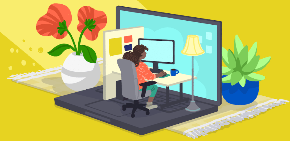 Work from home data illustration
