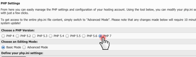 php 7 - enable from Control Panel