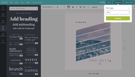export an image out of canva