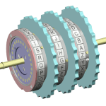 A series of three rotors from an Enigma machine scrambler. When loaded in the machine, these rotors connect with the entry plate on the right and the reflector drum on the left.