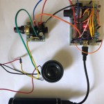 M386 Super MINI Amplifier Board - plugged in to the Nano running Mozzi