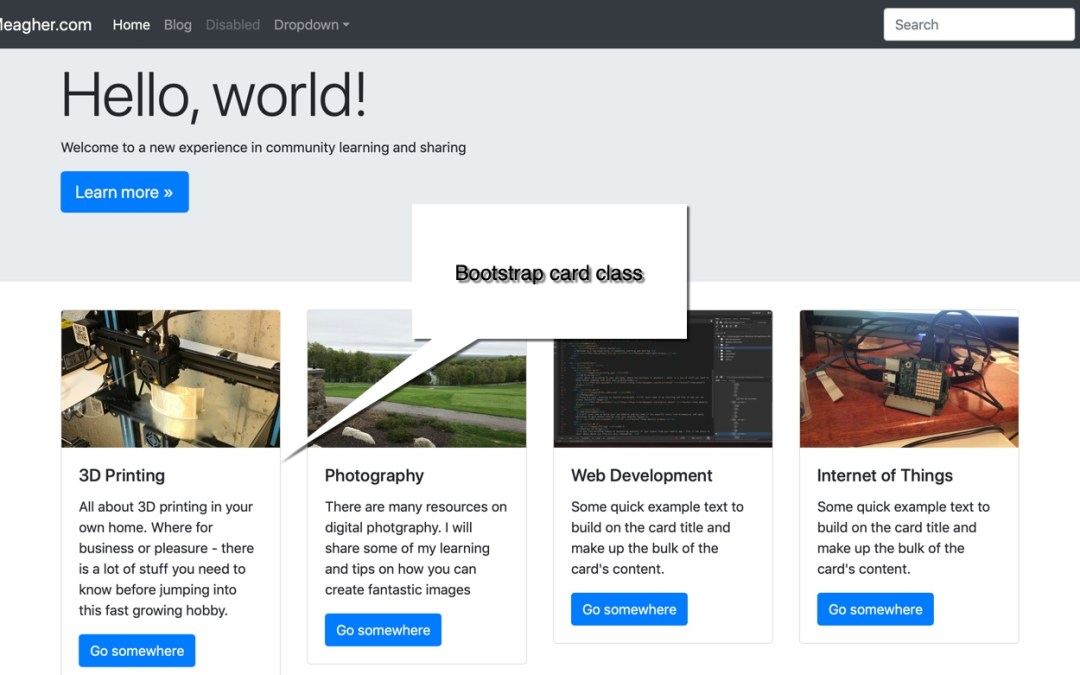 Using Bootstrap cards to arrange post excerpts