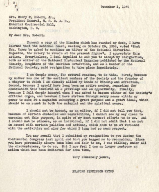 Frances's resignation letter
