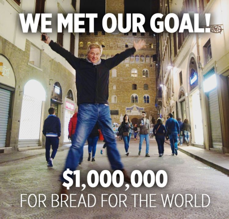 "a photo of rick steves jumping and text that says ""we met our goal! $1,000,000 for bread for the world"""