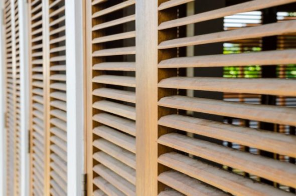 Brown wooden shutters