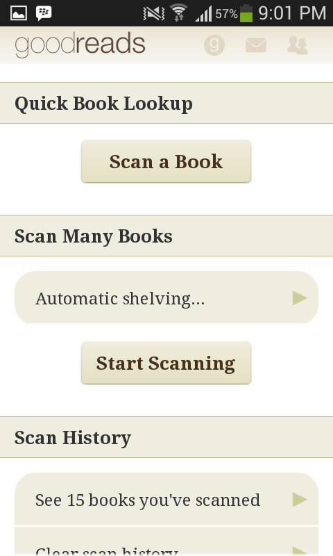 goodreads start scanning