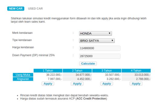 Simulasi Kredit Mobil Online Honda Brio Satya-