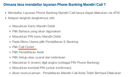 Kata Call Center pada Bank Mandiri-