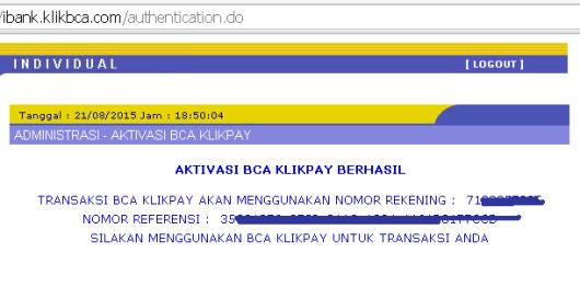 Aktivasi BCA KlikPay berhasil