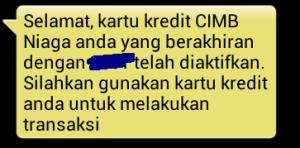 Aktivasi Kartu Kredit CIMB Niaga Syariah via sms