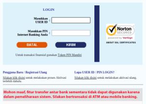 Pemberitahuan Pemeliharaan Sistem di halaman depan login IB Bank Mandiri