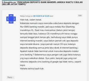 Komentar pengunjung Blog tentang deposito yg dibuka melalui sms banking