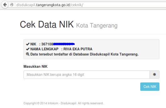Cek NIK Kota Tangerang 2-Data tersebut terdaftar di Database Disdukcapil Kota Tangerang