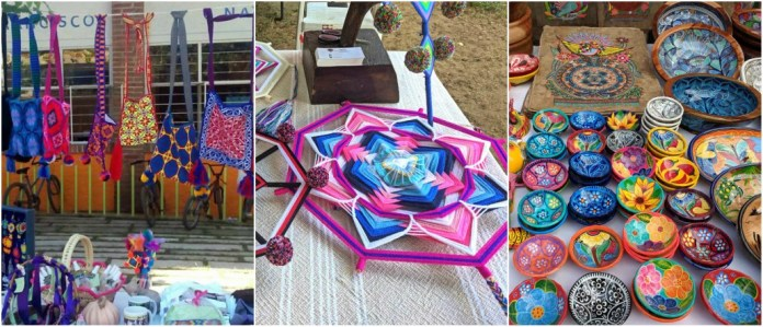 collage de fotos, artesanías, colores, arte, ojos de Dios, Farmer's Market