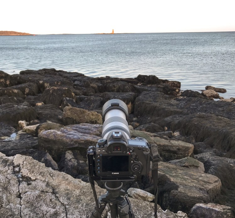 Setup for Whaleback Lighthouse Moonrise