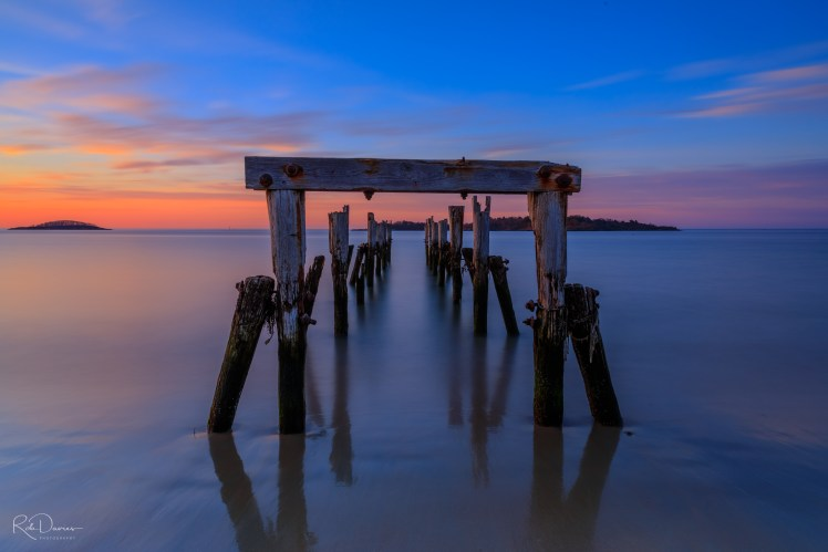 Slow shutter speed picture of pier at sunrise. Beverly Farms