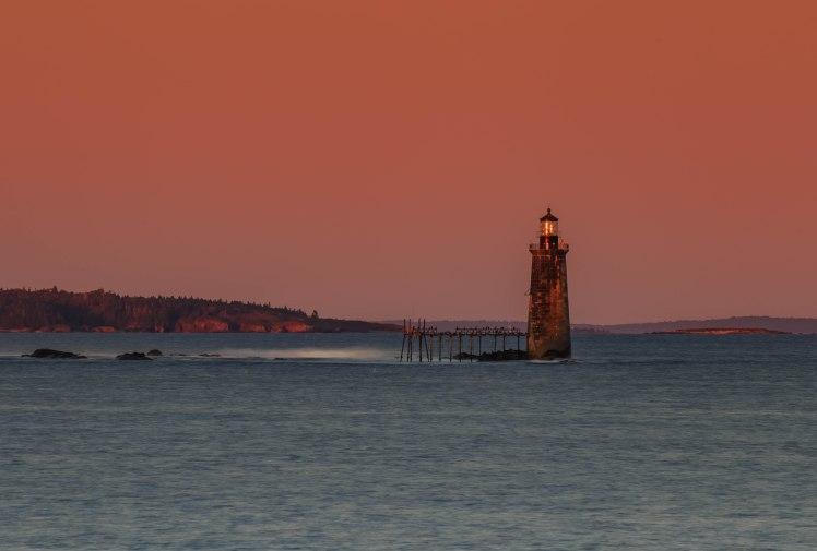 Ram Island Ledge lighthouse sunset