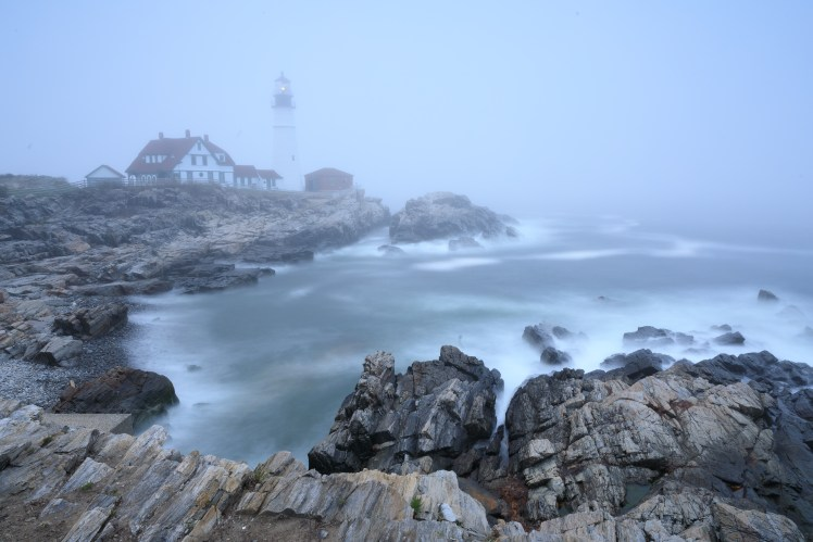 Portland Lighthouse in the fog