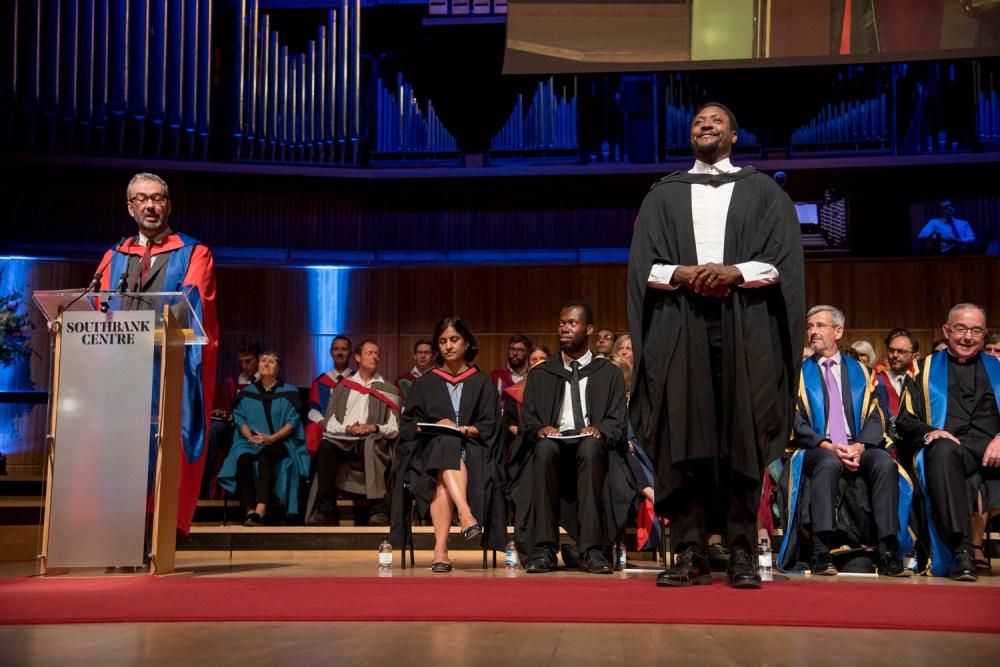 Matt Henry, Oliver Award-winner and Roehampton alumnus, receiving the Vice-Chancellor's Award